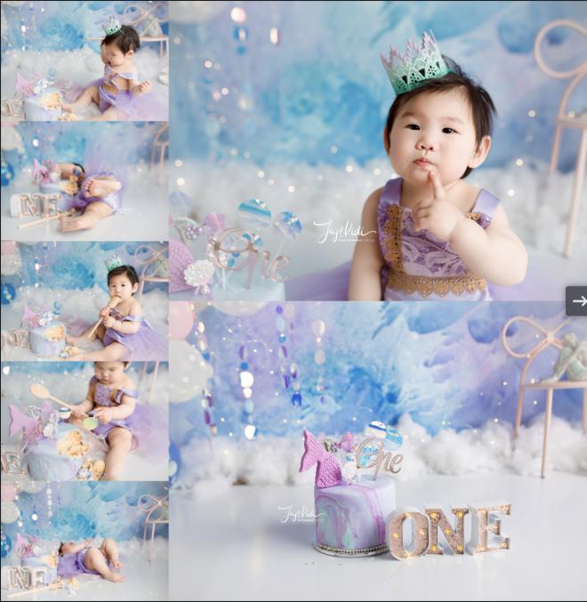 © JustKidi Photography Studio Baby Girl Cake Smash Photo Sydney One Year Baby Cake Smash Photo Shoot 周岁宝宝照砸蛋糕美人鱼主题写真